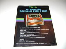 For Amusement Only Electronic Draw Poker Arcade Original sales flyer brochure