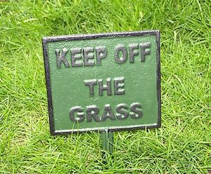 Please Keep Off The Grass Lawn Sign Cast Iron Garden Plaque Spike 13x22 cm New