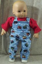 """Doll Clothes Baby HandMade 4 American Girl Boy 15"""" Overalls 2pc Train Red Blue"""