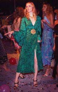 New Rixo London Indra Psychedelic Shell-print Silk Dress in Green Sz XS XL