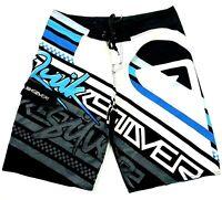 Quicksilver Men's Sz 38 White Blue Black Drawstring Pocket Board Shorts Boardies