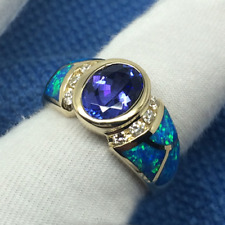 Estate 7x9mm Oval Blue Tanzanite 14K Solid White Gold Natural Diamond&Opal Ring