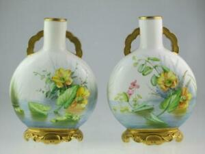 Antique 19th Century Royal Worcester Porcelain Moon Vases 1876