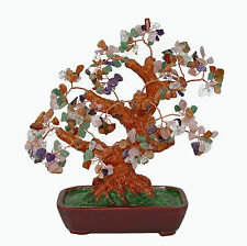 Chinese Feng Shui Bonsai Multi Color Crystal Gem Stone Money Tree 10""