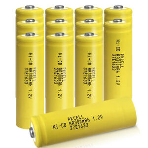 Rechargeable AA Ni-CD Battery 1.2v 300mAh Button Top for Solar Lights 12pcs