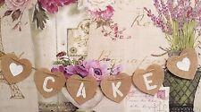 Rustic Hessian Heart ❤️ CAKE ❤ Wedding Bunting Hanging Venue Decoration