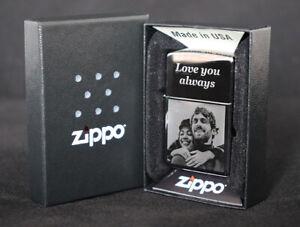 Personalised Genuine Zippo Polished Chrome Photo Engraved Lighter