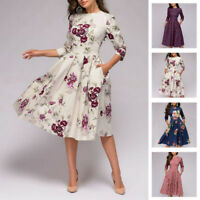Autumn Spring Vintage Dress Women Retro Tunic Long Sleeved Print Floral Dresses