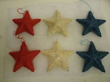 """Lot of 6 Red White Blue Patriotic SISAL Star Ornaments 4.5"""" - Country Primitive"""