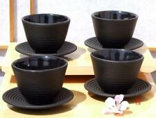 Cast iron black Zen Ripple tea cup and round coaster X4