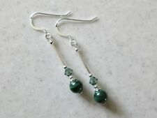 Genuine Natural Malachite Earrings Swarovski Crystals & Sterling Silver Tubes