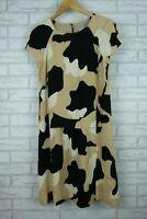 Hoss Intropia A-Line Dress Black, White, Beige Print Sz 38