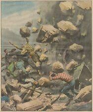 K1242 Belgio - Frana su minatori in cava di granito - Stampa - 1934 old print