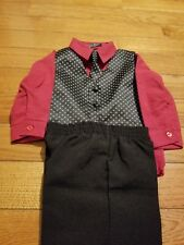 Handsome Andrew Fezza 4 Piece Infant Suit red and black Size 12 Month