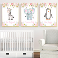 Safari Jungle Animals Nursery Prints Set Of 3, Baby Girl Room Pictures Wall Art