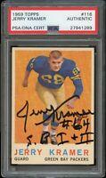 1959 Topps FB Card #116 Jerry Kramer Packers AUTOGRAPH ROOKIE PSA/DNA !!!