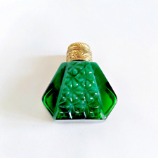 Perfume Bottle Vintage Green Glass Cover Golden Color Empty Small
