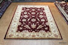 ELEGANT HANMDADE RUG 8' x 6' KNOTTED Finely woven Dark red maroon & Gold