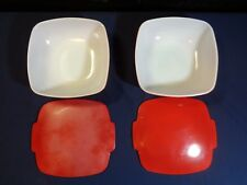 2 Vintage PYREX Ovenware 5258-025 RED *Casserole Dishs with Covers 2 1/2 quart