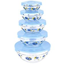 Bowl Set Food Container Storage Glass 5 Lid Microwave/Dishwasher/Freezer Safe .