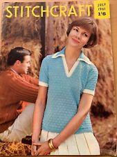Vintage Stitchcraft Magazine July1961 Knitting Crochet Ladies Childs Mens