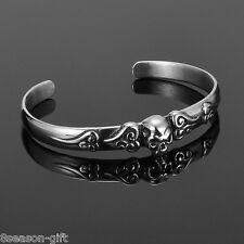 Womens Ladies Dull Silver Tone 316L Stainless Steel Skull Open Bnagle Bracelet