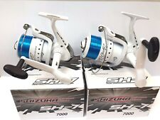 2 x SHIZUKA SK7 70 SEA LARGE LINEAEFFE FISHING BEACH PIER REELS WITH LINE WHITE
