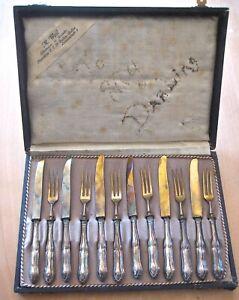 ANTIQUE 12 PC.  M. WEIL 800 German Silver Cutlery Desert Cocktail Knife Fork Set