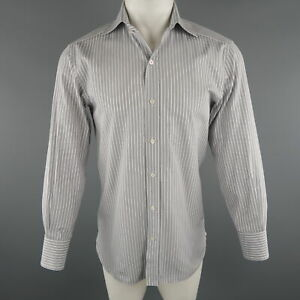 TOM FORD Size M Grey Stripe Cotton Long Sleeve Shirt