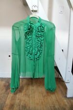 Etro ruffle silk sheer top size 4 green all tags removed preowned, perfect