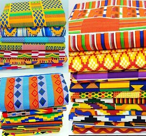 African Kente Fabric Ankara Wax Cotton Print Quilting Crafts sewing Per Yards👌