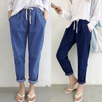 UK Women Elastic Waist Denim Harem Long Pants Ladies Casual Wide Leg Trousers