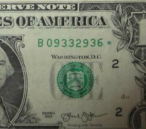 "2013 $1 DOLLAR BILL STAR NOTE ""B"" Series (Double Printed ERRORS)"