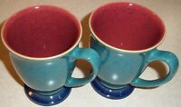 SET OF 2  DENBY Harlequin  Footed Mug  Coffee Cup GREEN, RED Stoneware England