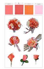 Keepsake Wedding Flower Package-Bouquet Boutonniere Corsage Peach coral Pink