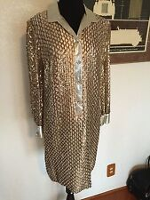 Vintage Fashions By Lee Jordon New York Gold Sequence Dress Size S