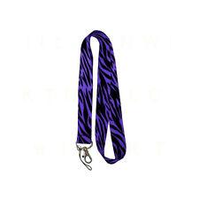 New Purple Zebra Tiger Print Lanyard Keychain Match Seat Covers Floor Mats