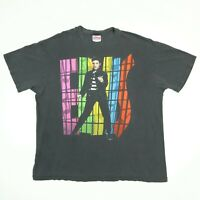 Destroyed Vtg 90s Elvis Presley T-Shirt XL Faded Black Hanes Single Stitch USA