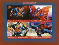 Madagascar 2018 MNH Superman 4v IMPF M/S DC Comics Superheroes Stamps