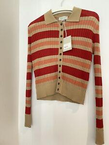 Lee Mathews Brand New Tencel Stripe Polo Cardigan Size M