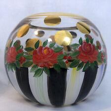 Mackenzie Childs Courtly Stripe Heirloom Glass Globe Floral Vase