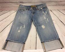 Old Navy Womens Capri Jeans Size 2 Distressed Light Wash Blue Denim Folded hem