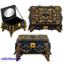 Gold & Black Skull Halloween Goth Jewelry Holder Box Container w/ Mirror Inside