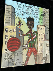 Original oil Painting on canvas basketball player signed Jean Michel Basquiat
