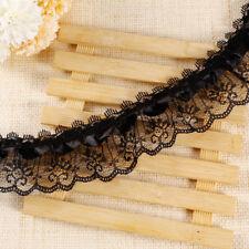 10m 2 Layer Black Satin Ribbon Gathered Lace 5cm Wide Trim