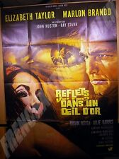 AFFICHE CINEMA 1967 Jean MASCII REFLETS DANS UN OEIL D'OR HOUSTON BRANDO TAYLOR