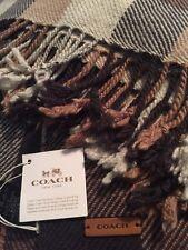 NWT Coach Sq Plaid Fringy Scarf Browns!! W/ Coach gift Bag