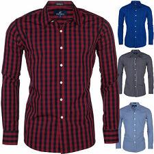 Herren Hemden Karierte Gestreift Slim Fit  Business Freizeit Hemd S M L XL 2XL