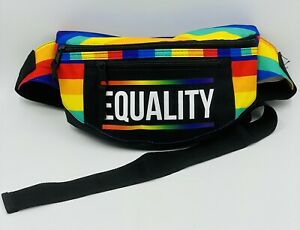 """Rainbow Gay Pride """"EQUALITY"""" 3 Compartment Fanny Pack 10"""" LGBTQ"""