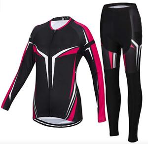 Ladies Long Sleeve + Cycling Shorts Jersey Set Winter Trousers Bike Wheel Neu